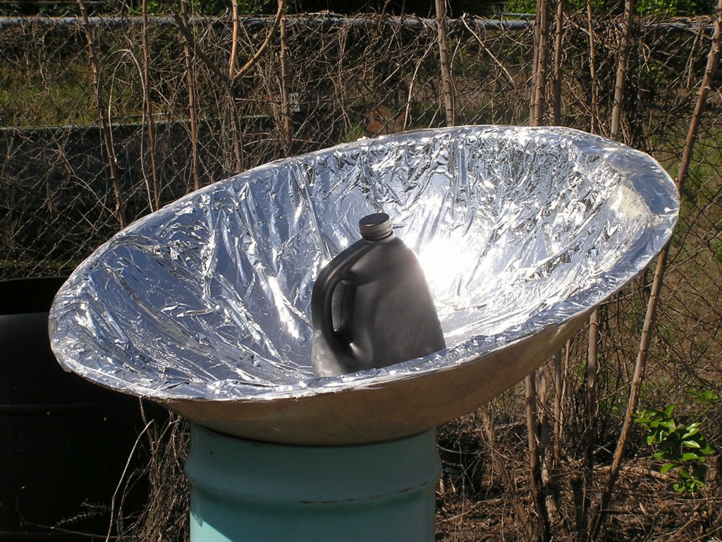my friend mary jo gave me oodles of reflective mylar sheeting so i peeled off the decrepit ancient original aluminum foil scrubbed the plastic dome super