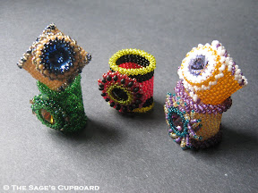 Beaded Rivoli Rings