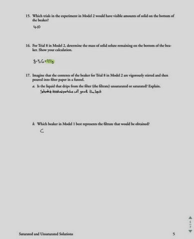 OpiumChem Saturated and Unsaturated Solutions Worksheet
