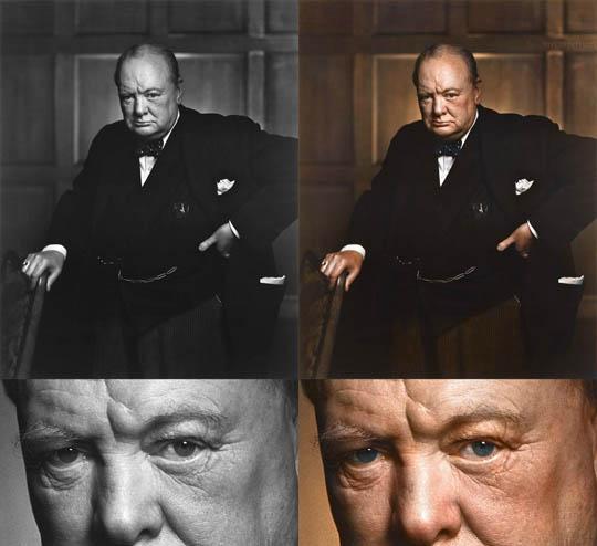 Уинстън Чърчъл - Най-известните исторически черно-бели фотографии в цвят