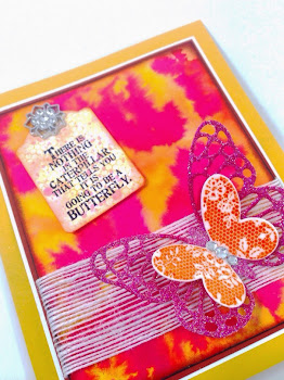 Linda Vich Creates: Dazzling Diamonds Meets Wonderful Watercolor. A glittery diecut butterfly perches on Whisper White Jute Ribbon that is adhered to a dramatic watercolor background created using Stampin' Up! ink refills. A distressed tag, anchored by a lovely bit of bling, displays the sentiment.