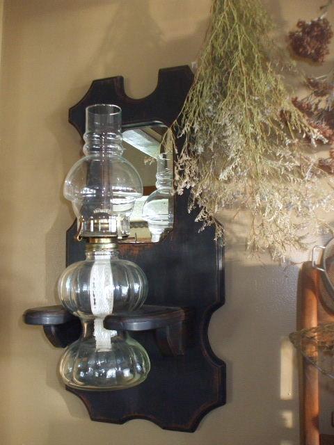 Cabin fever primitives primitive make over oil lamp for Wooden kerosene lamp holder