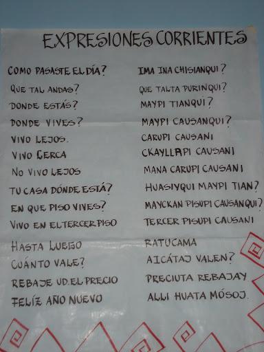 EXPRESIONES CORRIENTES: comparación quichua-castellano