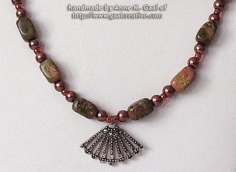 Unakite and Pearl Necklace with Vintage Fan handmade by Anne Gaal of http://www.gaalcreative.com Jul. 15, 2013