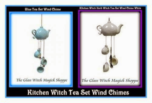 Herb Witch Kitchen Witch Magickal Tea Set Wind Chime Bluewhite 20 00