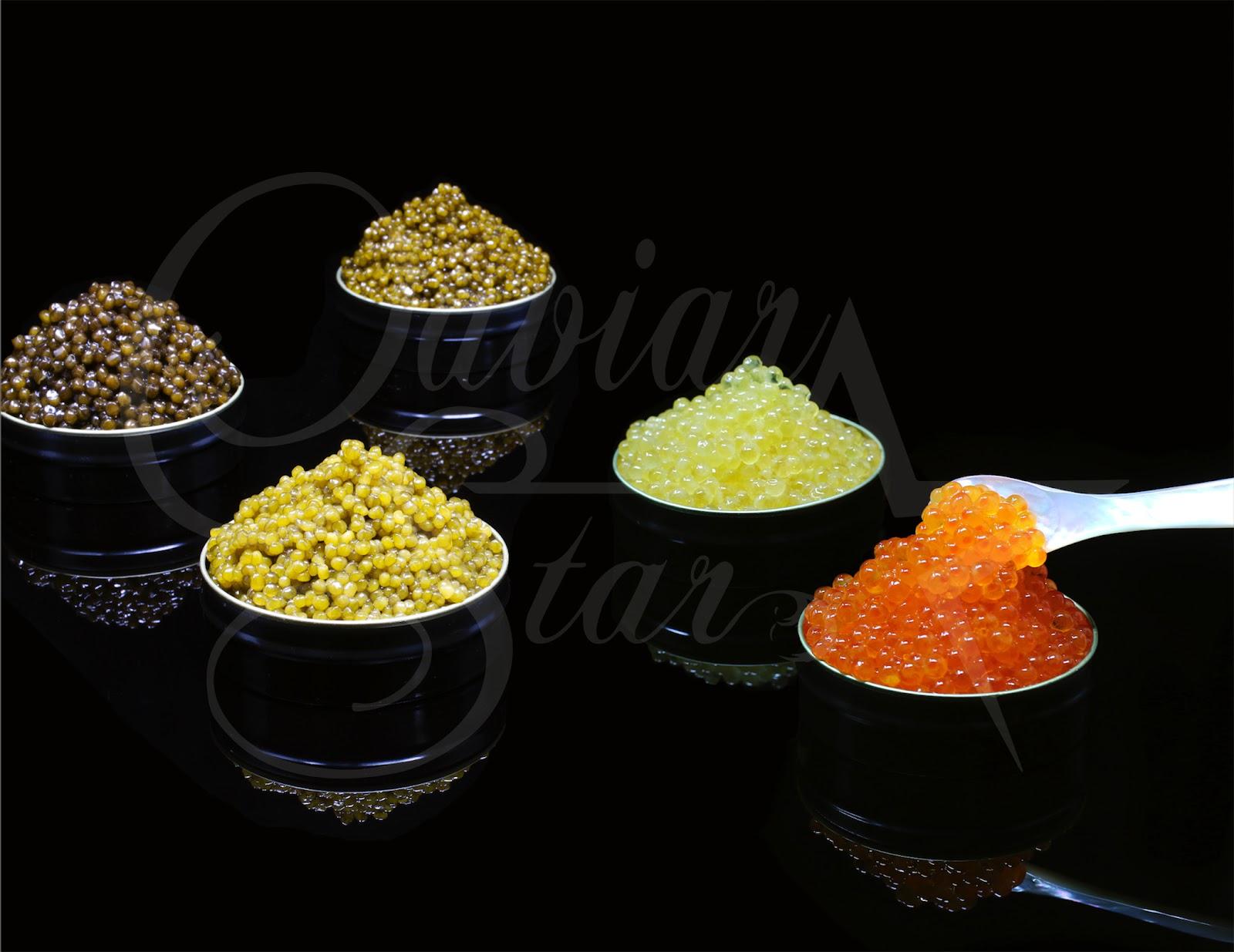 different colored caviar