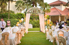 garden wedding chairs ribbon