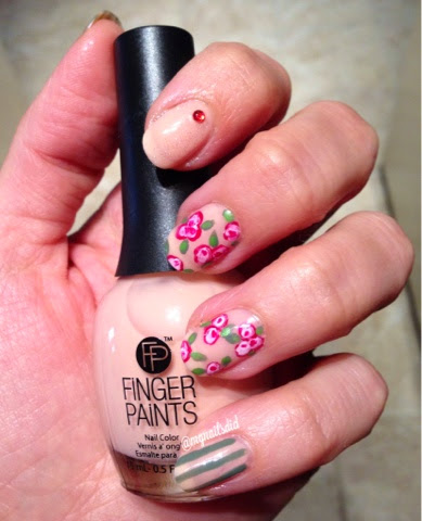 My Nails Did: Floral & Stripes Manicure