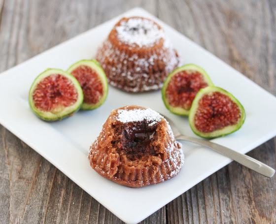 photo of Chocolate Truffle Lava Cakes on a plate with figs