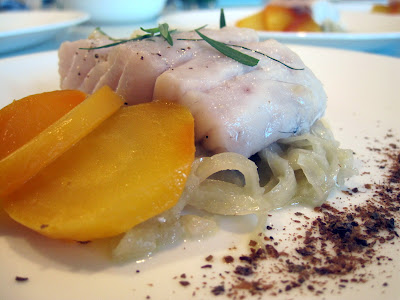 Fish and Fennel - pollock on top of fennel-onion compote with golden beets and Sicilian dried caper powder.