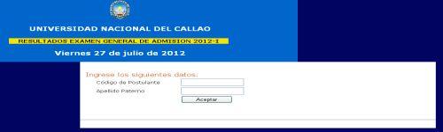 Resultados UNAC 2012-1 27 Julio callao