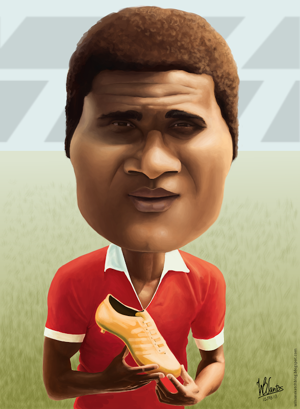 Caricature of Eusébio, using Krita.
