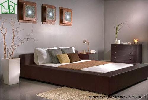 Giường ngủ với đệm thụt ngang bằng mặt giường