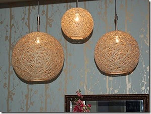 Luminária artesanal feita com fios de juta - uma maravilha