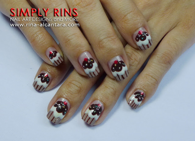 Chocolate Cupcake Nail Art Design 03