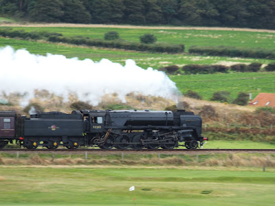 Steam locomotive 92203 Black Prince heading up to Weybourne