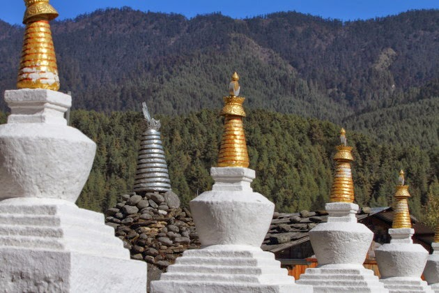 Line of chortens at Kurje Lakhang temple, Bumthang