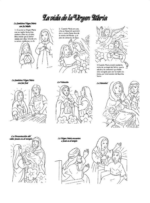 Puntadas marianas: Vida de la Virgen María para colorear
