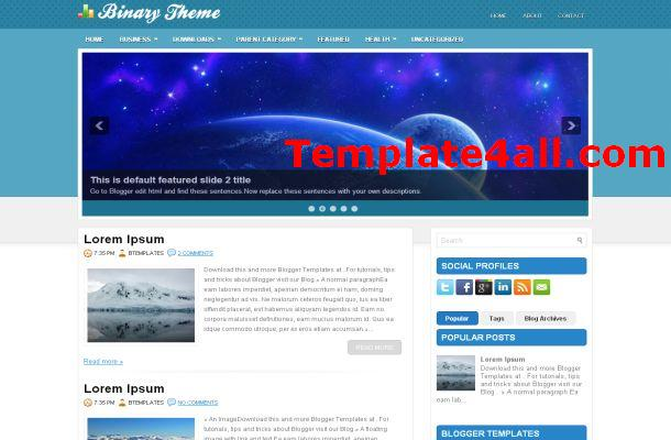 Free Jquery Business Blue Blogger Theme Template