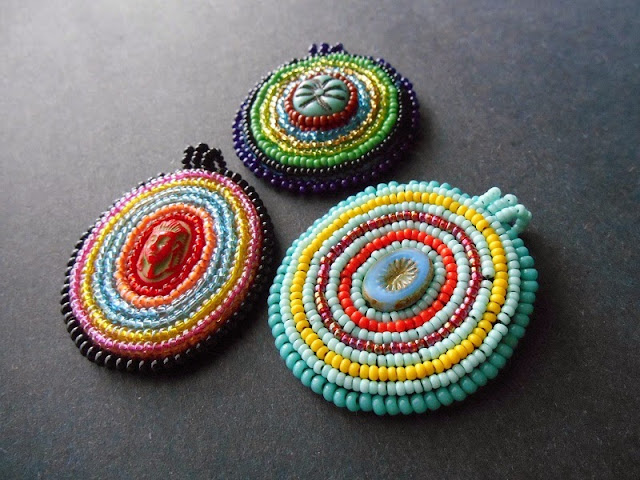 Embroidered Medallion Pendants