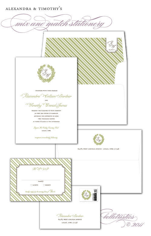 mix & match wedding stationery printable design laurel wreath traditionsl formal