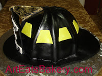 Ware Shoals firefighters helment Groom's cake with gold eagle.