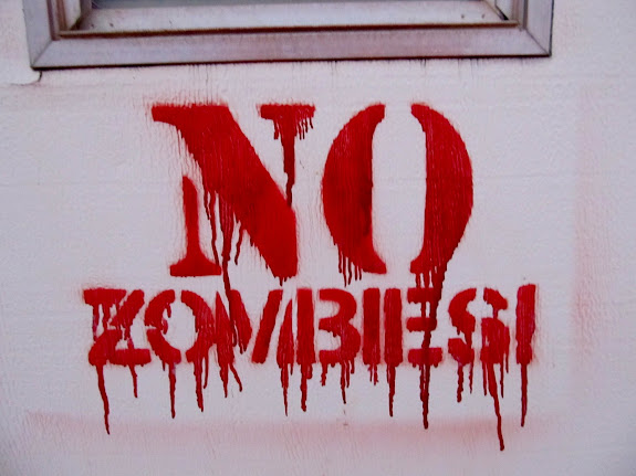 No Zombies stenciled on the trailer door