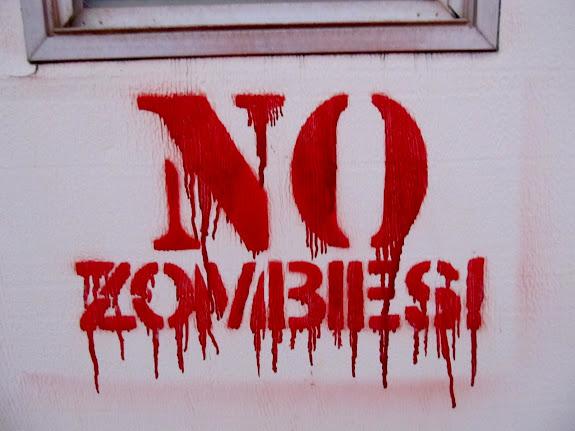 No Zombies stenciled on the trailer door