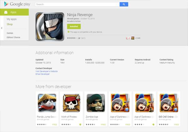 Ninja Revenge cán mốc 1 triệu lượt tải về 2