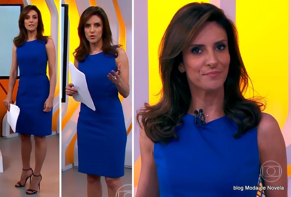 moda do programa Hora 1, vestido azul da Monalisa Perrone dia 9 de dezembro