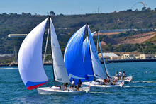 J/70s sailing off San Diego in Hot Rum Race