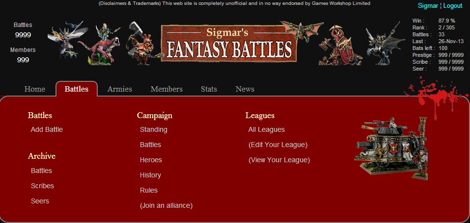 Picture of Warhammer Fantasy Battles new menu