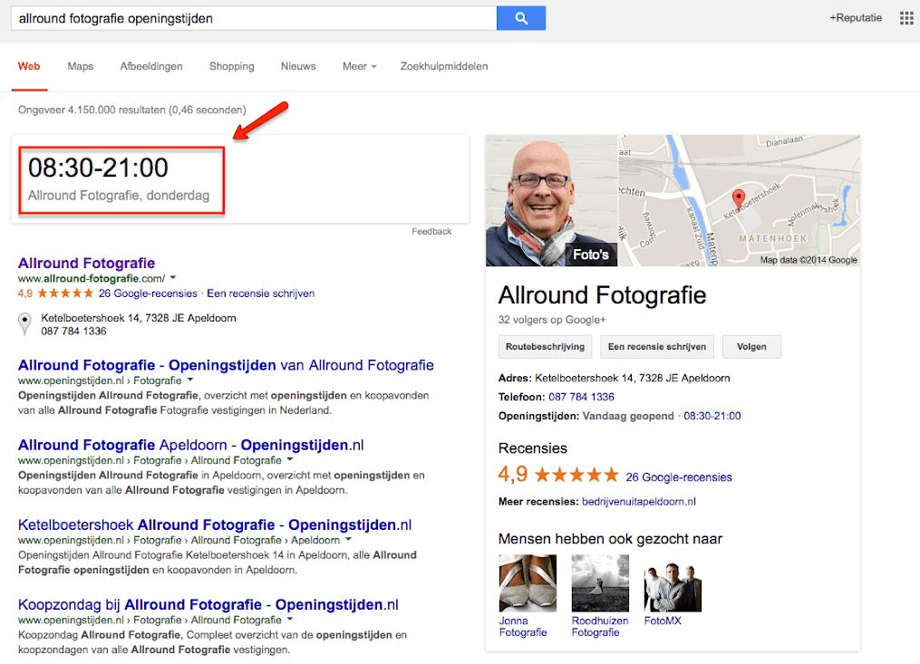 Openingstijden vergroot weergegeven in Google