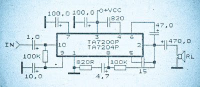 10 watt power amplifier based on TA7200P has a 3,3 W output and the equation of TA7204P has a power output of 4,2 W