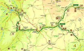 Mapa de la Vía Verde del Tajuña y la Vía Verde del Tren de los 40 días. Pincha la imagen para ampliarla