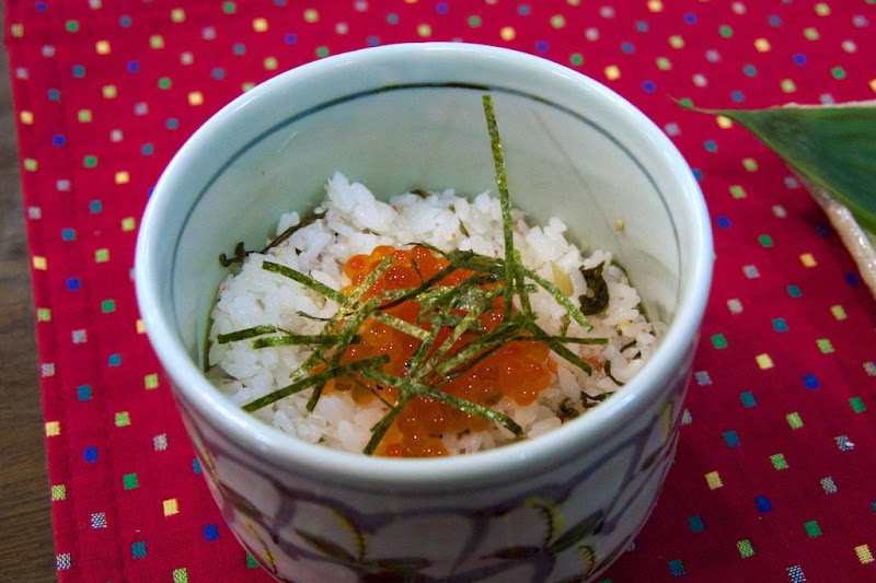 蟹・いくら・野沢菜ご飯