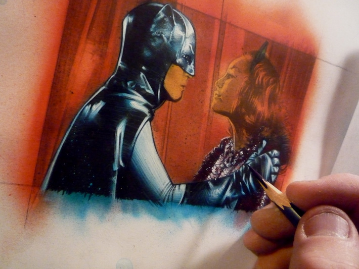 Adam West and Julie Newmar as Batman & Catwoman, work inprogress sketch card