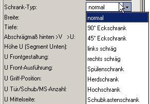 ElementsCAD - Menü Schranktypen