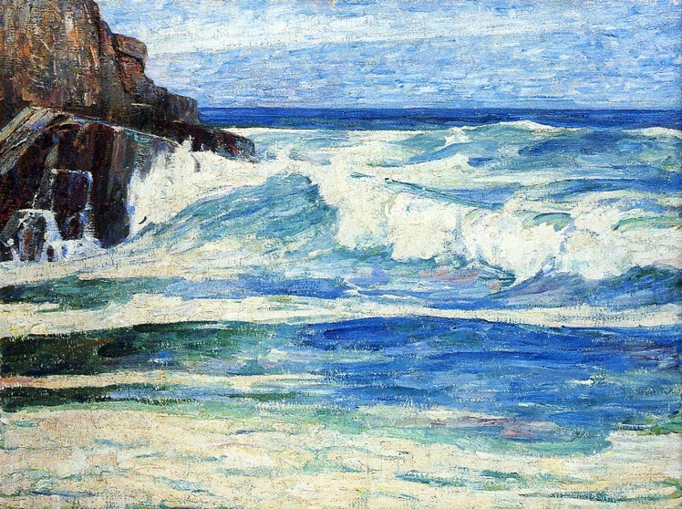 Emil Carlsen - Surf Breaking on Rocks