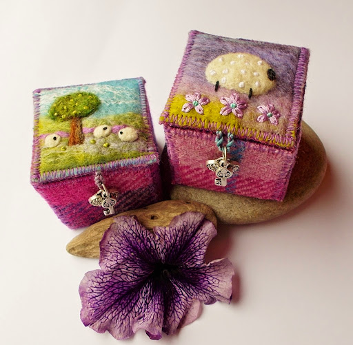 Textile trinket boxes from Scottish artist Aileen Clarke