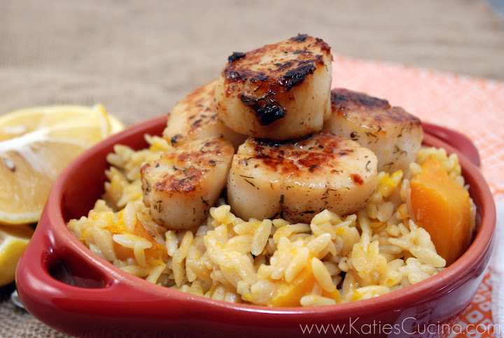 Pumpkin Spiced Alaskan Scallops with Butternut Squash Orzo