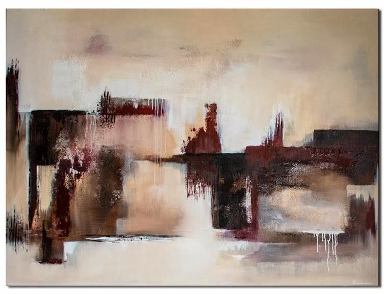 Abstraktes Acrylbild mit den Farben Bourdeaux als handgemaltes Acrylbild