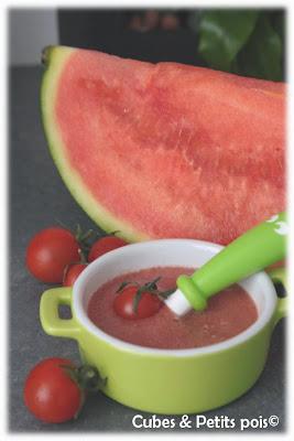 recette bébé 12 mois soupe froide tomate pastèque basilic