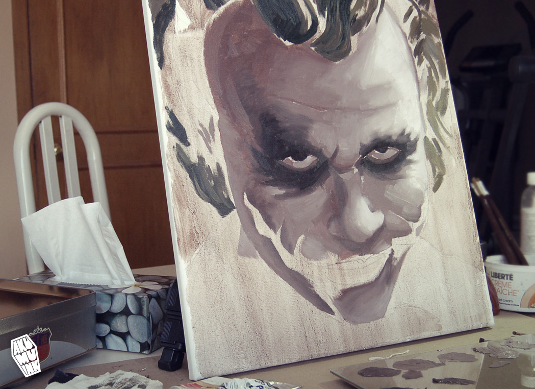 joker painting, dark knight joker, joker fanart, commission painting, artist sell art, indie artist, custom indie art, custom indie artist, joker oil painting