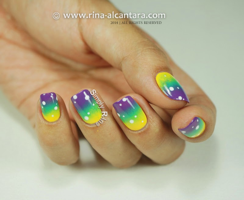 80s Gradient Nail Art Design