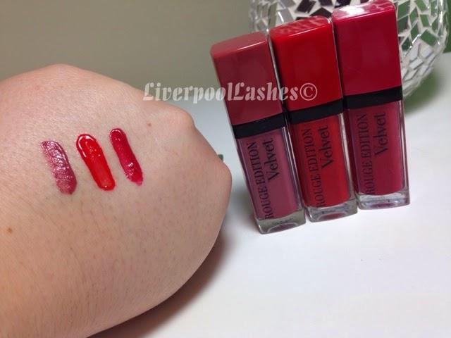 bourjous rouge edition velvet lipstick 07 Nude-ist,  03 Hot Pepper and 02 Frambourjoise