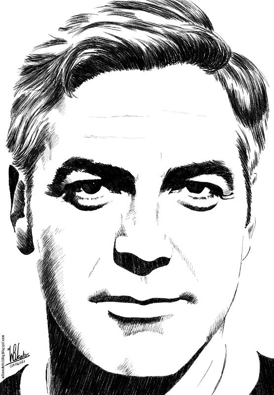Ink drawing of George Clooney, using Krita 2.5.