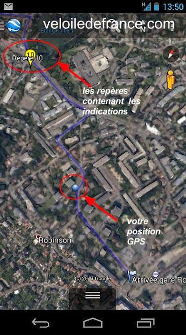 Vérifier sa position GPS sur le tracé et par rapport au repère suivant en utilisant GoogleEarth sur smartphone