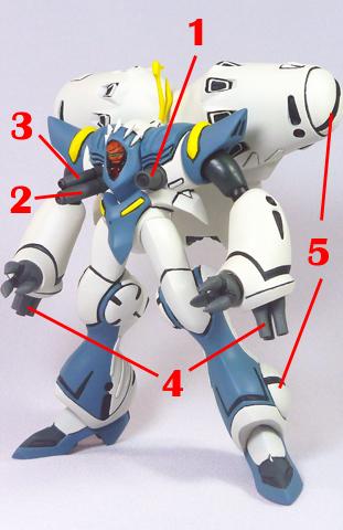 Macross 7 Queadluun-Quilqua Battle Suit Armament weapon position