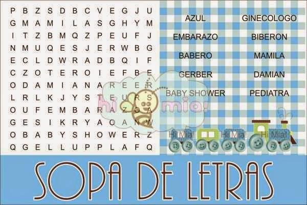 Juegos para baby shower crucigrama sopa de letra